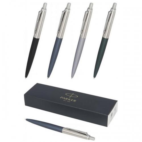 Parker lodīšu pildspalva matēta ar hromētu apdari  Jotter XL ar zilu tinti ar apdruku (cena bez logo)