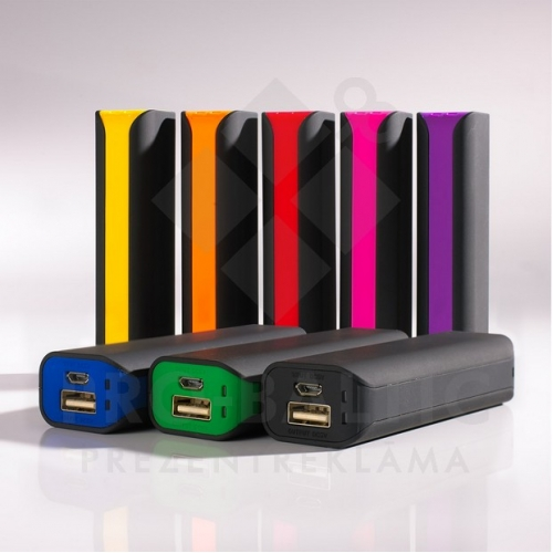 Colorissimo Power bank 2600mAh un USB lampiņas komplekts ar logo