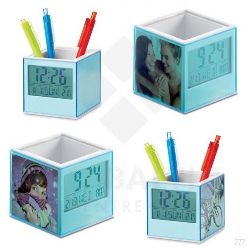 Galda pulksteņi ar pildspalvas turētāju Pervuc ar apdruku (cena bez logo)